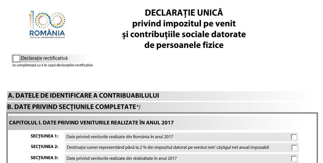 Depunerea online a declarației unice